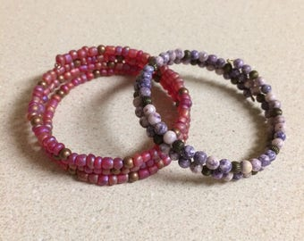 Delicate bead memory wire bracelets - set of two - purple gemstone pink gold copper bronze