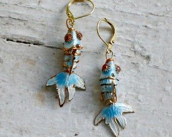 Blue Cloisonné Fish Earrings
