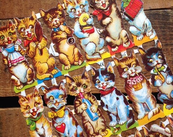 German Scraps - Tall Cats - Die Cuts, Cut Outs, Vintage Style, Vintage Inspired, Paper Ephemera, Reproduction, Cute Scrapbooking Paper