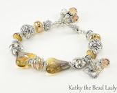 Lampwork Bracelet - Lampwork Bali Sterling Silver Karen Hill Tribe Bead Bracelet - KTBL