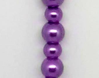 Purple Glass Pearl Beaded Pendant Necklace