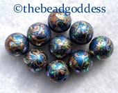 NEW UNIQUE STUNNING Wholesale Rich Blue Peacock Tensha Beads 12mm 9 Pieces