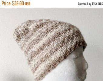 First Fall Sale - 15% Off Owlfeather/Sepia Handknit Hat, 100 Percent Wool, Light Brown and Cream Stripes, Textured Knit. Unisex Beanie, Mori