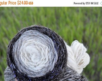 First Fall Sale - 15% Off Handspun Gradient Yarn - Natural Shetland Wool, Bleached Hemp, Sparkle! About 118 yards, 9 WPI, Worsted Weight Sin