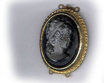 vintage GLASS CAMEO clasp gold tone clasp, TWO strand, bridal finding antique clasp vintage cameo clasp