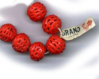 vintage glass beads RED japanese glass SPIDER WEB beads most unusual 13mm beads six art glass beads