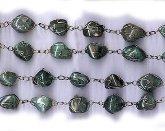 antique TUMBLED MALACHITE classic necklace green beads on original wired strand CLASSIC 1960s chunky almost 2 feet long necklace 30 beads