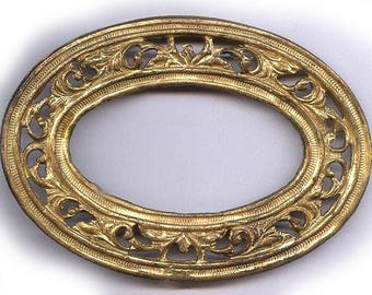 vintage OVAL SOLID brass finding connector open design BRASS finding antique brass aging beauty