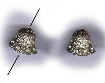 two vintage RHINESTONE BEAD CAP art deco rhinestone bell shape silvertone bead cap amazing one pair or two bead caps