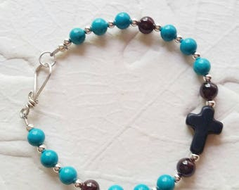 Stone Cross Bracelet with Turquoise and Garnet Chakra Stones