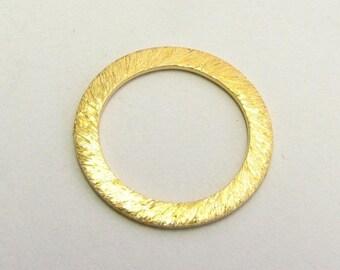 SHOP SALE 14mm Flat Circle Shaped Bali Vermeil Brushed Line Texture Loop Connector Eternity Rings Links (2 beads)