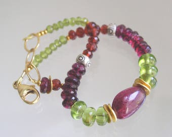 Tourmaline Beaded Bracelet, Peridot Layering Bracelet, Skinny Jewels, Mixed Metal, Rhodolite Garnet, Vesuvianite, August Birthstone