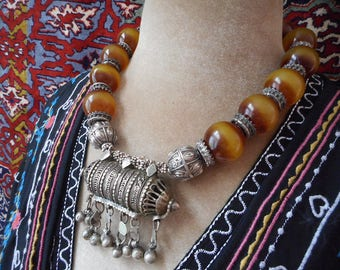 vintage Yemen silver beads, silver prayer amulet, old vintage tribal amber resin beads