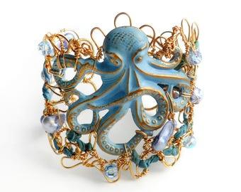 Blister Pearl and Swarovski Crystal Octopus Bangle Bracelet