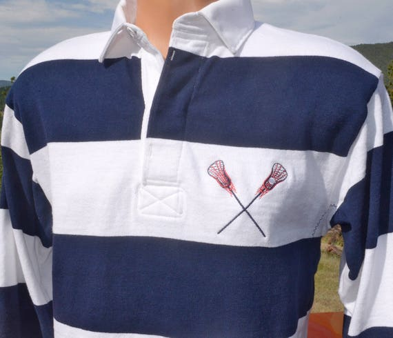 vintage 80s rugby shirt LACROSSE stripe navy blue white lax Small preppy barbarian