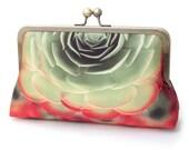 Succulent clutch bag, silk purse, green, red petals, desert cacti plant, aeonium, bridesmaid gift