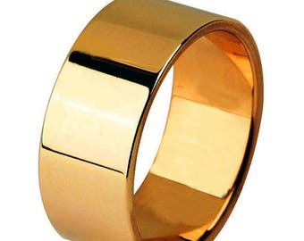 Memorial Day Sale 14 kt  Rose Gold Classic Smooth Cigar Style 8mm Wide Commitment or Wedding Band Custom made Size 4 through 9