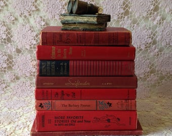 Vintage Book Stack, Red Books