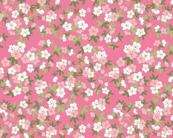 Safari Party Floral Pink with Gold Sparkle - pink, white, and gold floral print fabric - Safari Party Fabric from Riley Blake - 100% cotton