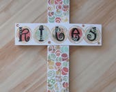 Custom Order For Amanda...wHIMsical and Funky...Personalized Cross 10x13
