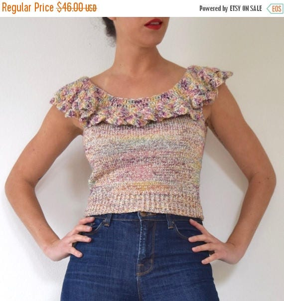 SUMMER SALE / 20% off Vintage 70s 80s Metallic Knit Cropped Blouse with Ruffled Neckline (size xs, small)