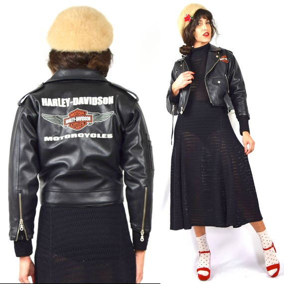 Vintage 90s Harley Davidson Faux PVC Simulated Leather Cropped Motorcycle Jacket (children's size 8, 10 / women's size XXS)