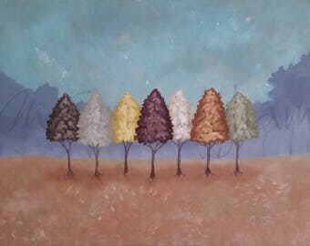 "Original Fine Art Painting - Acrylic on Canvas - 18"" x 24"" - Multi Colored Tree Nature Artwork"