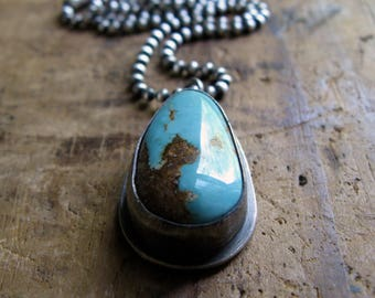 Handmade Sterling Silver and American Royston Turquoise Necklace Pendant
