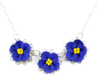 Three African Violets Necklace - Trio African Violet Jewelry, African Violet Filigree Necklace, African Violet Flowers