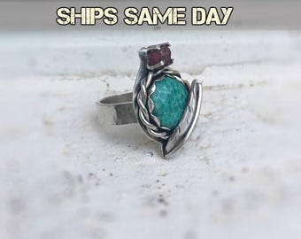 ON SALE Turquoise Ring,  Sterling Silver Ring, Statement Ring, Size 7.5, Handmade Artisan Ring, Gypsy Ring, Multistone Ring