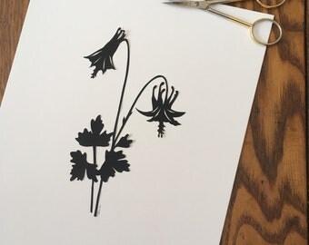 Spring Wildflower Columbine Silhouette Papercutting