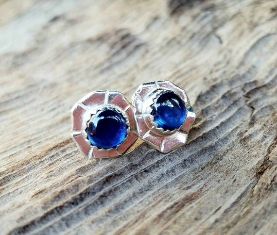 Blue sapphire stud post earrings,  Artisan Jewelry,  OOAK, Blue gemstone earrings, Wedding Bridal Jewelry