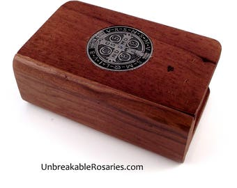 Unique Wood St Benedict Rosary Box. Small Book With Sliding Spine and St Benedict Medal