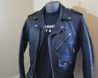 Distressed Black Motorcycle Jacket Vintage 70s punk black leather Biker Jacket Wilsons 1970s Vintage cowhide Black Leather Jacket size 38 S