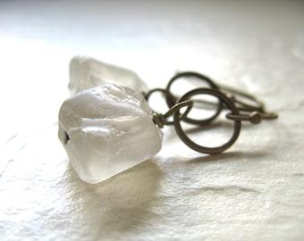 Smoky Quartz Earrings, Handmade Smoky Quartz Gemstone hoop Earrings, Metalwork Artisan Jewelry, Quartz Earrings, Smoky Quartz Jewelry