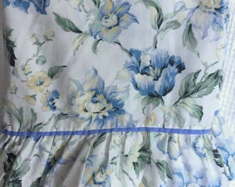 Vintage Twin Size Flat Sheet with Top Ruffle Trimmed in Lace - Pretty Blue Floral Print - 2 Available - To Use or Repurpose