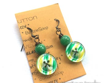 Bright Green and Yellow Vintage Button Jewelry Earrings