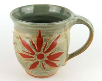 Stoneware Mug - 16 oz. Mug - Coffee Cup - Latte Mug - Tea Cup - Sage Green Mug - Terracotta - Pottery Mug Handmade wheel thrown pottery