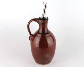 Olive Oil Bottle - 10 oz. Olive Oil Dispenser -  Oil Dispenser- Oil Cruet - Cooking Oil Bottle - Brick Red
