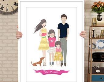 Custom family portrait, Custom couple illustration, personalized portrait, couple portrait, pet portraits, wedding gift, wedding portrait