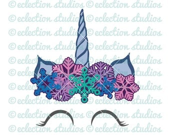 Unicorn SVG, Holiday SVG, Winter Snowflake crown  Unicorn horn & ears, unicorn face cake topper, eyelashes svg, dxf, eps, jpg, png cut file
