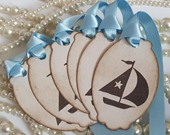 Baby Shower Tags, Baby Shower Favours, Child Birthday Gift, Baby Boat, Boat tags, Rustic Baby Shower, Christening favours, kids party favour