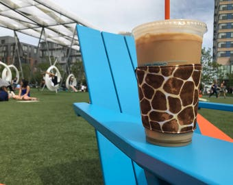 What's Up Your Sleeve Fabric Reusable Ice Coffee Sleeve Giraffe