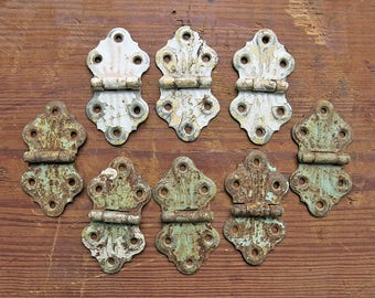 Antique Painted Hinges Lot,8...Chippy, Crusty, Rusty Hardware, White, Green...Salvage Supplies Destash...Mixed Media, Steampunk, Industrial