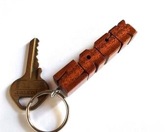 ZACK - Sample Name Keychain in Mahogany Wood