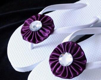 Plum Purple Bridal Flip Flops / Wedding Flip Flops / Bridesmaid gifts