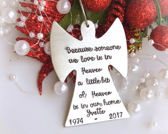 Memorial Christmas ornament, personalized Angel Ornament, personalized memorial ornament, Because someone we love is in Heaven
