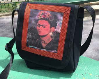 Frida Kahlo Black Canvas Messenger Bag, Crossbody Daybag, Courier Bag