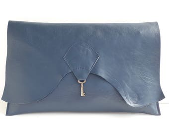 Raw edge leather clutch purse with vintage key detail - navy blue