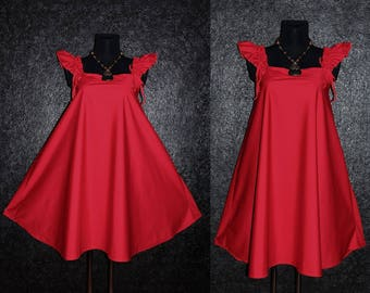 Cute Red Summer Harajuku Style Retro Babydoll A-Line Dress Plus Size 20 22 24 Gothic 3X